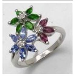 STERLING SILVER MULTI STONE FLOWER RING