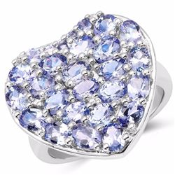 STERLING SILVER TANZANITE HEART RING