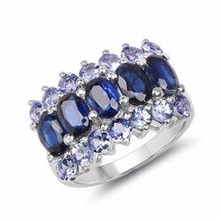 STERLING SILVER KYANITE AND TANZANITE RING