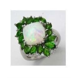 STERLING SILVER ETHIOPIAN OPAL AND CHROME DIOPSIDE RING
