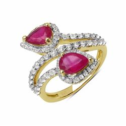 STERLING SILVER RUBY BYPASS RING