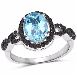 STERLING SILVER BABY SWISS BLUE CHECKERBOARD TOPAZ AND BLACK AND WHITE DIAMOND RING