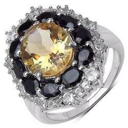 STERLING SILVER CITRINE AND BLACK SPINEL RING