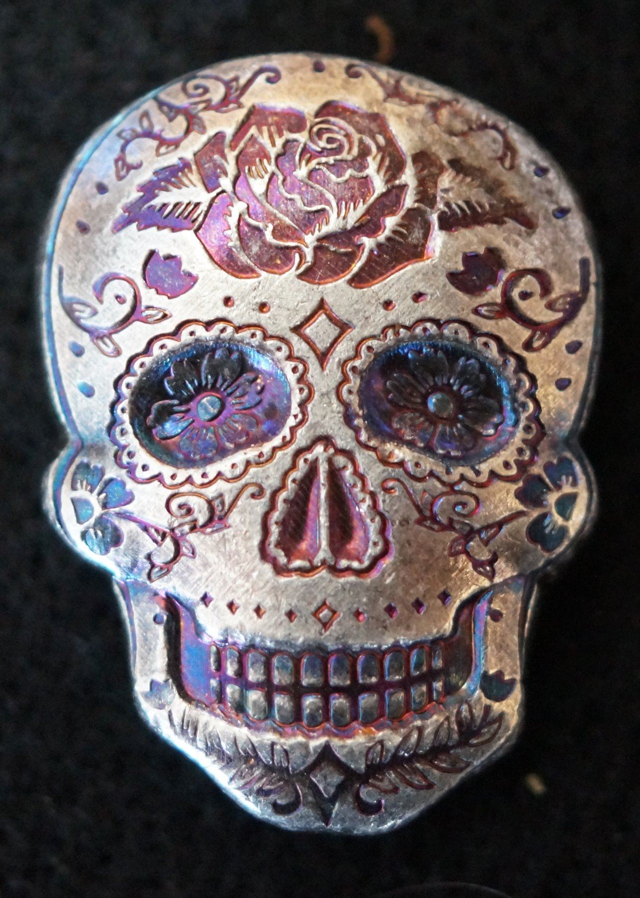 2 Oz Silver Sugar Skull Monarch 3d Poured Bar Day Of The