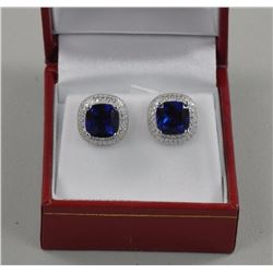 Ladies ,925 Silver Earrings. 2 Prong, Blue Square