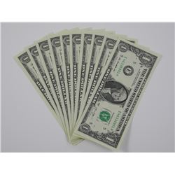 10x USA federal Reserver $10.00 in Sequence GEM UN