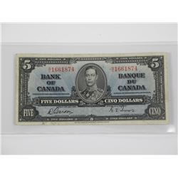 1937 Bank of Canada Five Dollars.