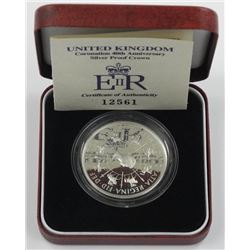 UK Silver Proof Crown Five Pounds.
