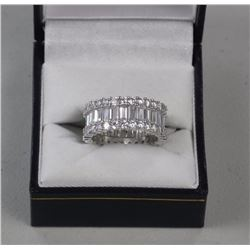 Ladies .925 Silver Band Ring Set w/Baguette Swarov