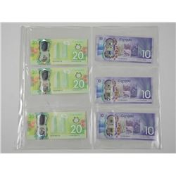 Lot (6) Bank of Canada GEM UNC $10.00 and $20.00 -