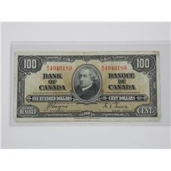 Bank of Canada 1937 - $100.00 C/T.