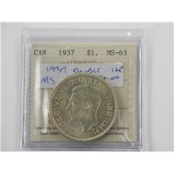 1937 Canada Silver Dollar MS-63 ICCS Double HP. (S