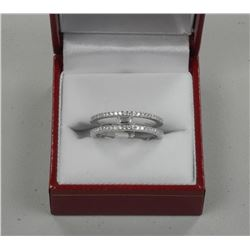 Ladies .925 Sterling Silver Ring. Two Rows Bead Se