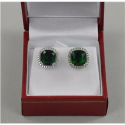 Ladies ,925 Silver Earrings. 2 Prong, Green Square