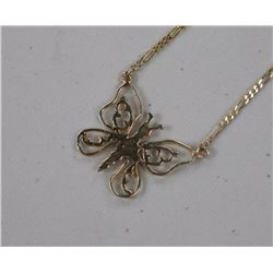 Estate Ladies 10kt Gold Butterfly Necklace. (3.5)