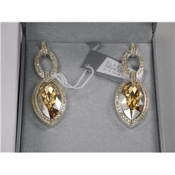 Ladies MMCrystal Earrings. 2 Bezel, Brown Marquise