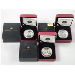 3x RCM .9999 Fine Silver $20.00 Coins 'Group of Se