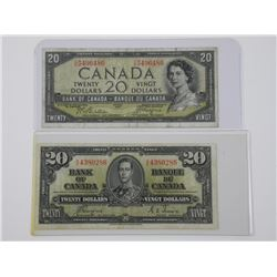 2x Bank of Canada $20.00 1954 Devil's Face and 193