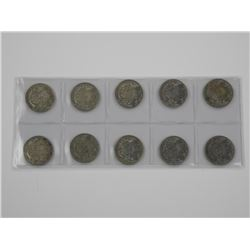 10x Canada Silver 50 Cent Mix Dates.