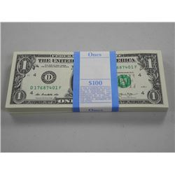100x USA Federal Reserve Notes One Dollar Series 2