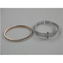 2x Custom Bangle Bracelets Cuff and Rose Gold w/Sw