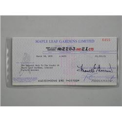 Maple Leaf Gardens - Rare Cheque Dated March 1975.