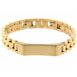 24kt Gold Plate over 18/10 Stainless Steel ID Brac