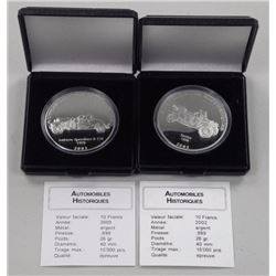 2x .9999 Fine Silver Historical Vehicles Cars, 200