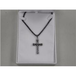 Gents 18/10 Stainless Steel Cross Pendant and Chai