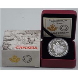 2014 - $15 Exploring Canada - The Voyageurs .9999 Fine Silver.