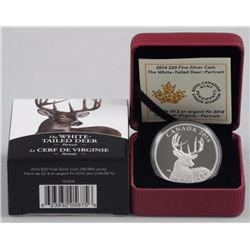 RCM .9999 Fine Silver $20.00 Coin The white Tailed Deer, Portrait.