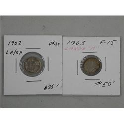 """2x Canada Silver 5 Cent. 1903 Large """"H"""" F15 and"""