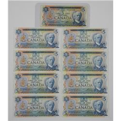 9x Bank of Canada 1972 and 1979 - $5.00.