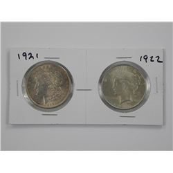 2x USA Silver Dollars 1921 and 1922.