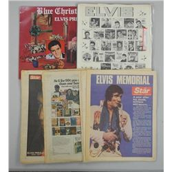 Elvis - Collection 7 Newspapers, 8 LP Catalogues,