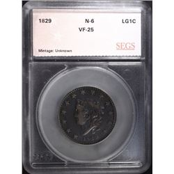 1829 LARGE CENT N-6 SEGS VF