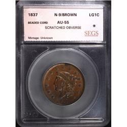 1837 LARGE CENT N-9 BN SEGS AU+