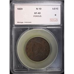 1820 LARGE CENT N-10 SEGS XF