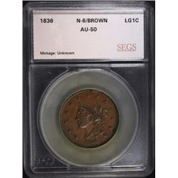 1836 LARGE CENT N-6 BN SEGS AU
