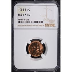 1955-S LINCOLN CENT NGC MS67 RD