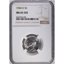 1944-D JEFFERSON NICKEL, NGC MS-65 FULL STEPS