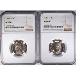 1949-D & 50-D JEFFERSON NICKELS, NGC MS-66