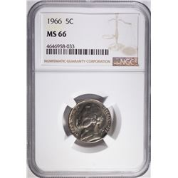 1966 JEFFERSON NICKEL, NGC MS-66