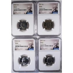 4 WASHINGTON QTRS NGC GRADED