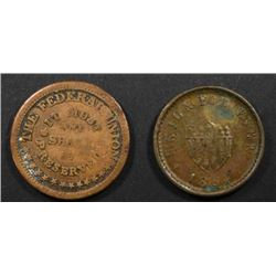 2-DIFFERENT CIVIL WAR TOKENS
