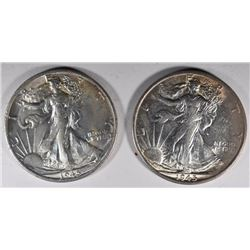 2 - 1945-S WALKING LIBERTY HALF DOLLARS