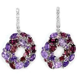 NATURAL RHODOLITE GARNET AMETHYST  Earrings
