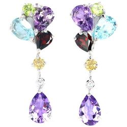 Natural Multi Gemstone Earrings