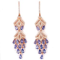Natural Tanzanite Rose Pink Long Earrings