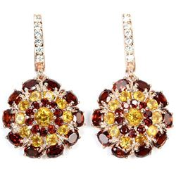 NATURAL Dark RED GARNET, CITRINE Earrings